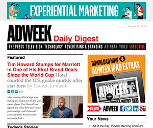 Adweek email newsletter August 2014