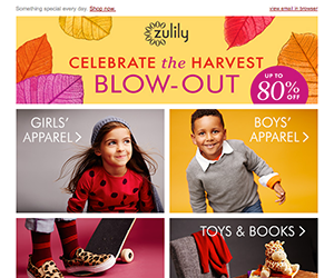 Zulily email newsletter September 2014